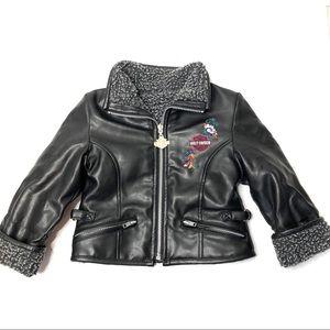 Harley-Davidson Faux Leather Jacket Floral Fleece
